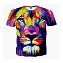 economico T-shirt e canotte da uomo-T-shirt - Taglie forti Per uomo Con stampe, 3D / Animali Rotonda Leone Viola XL / Manica corta / Estate