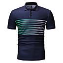 billige Mode Halskæde-Krave Herre - Ensfarvet / Stribet / Ternet Bomuld, Patchwork / Trykt mønster Polo Sort XL