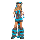 ieftine Pijamale Kigurumi-Pisici Wolf Women Costume Santa Clothe Adulți Pentru femei Halloween Crăciun Crăciun Halloween Carnaval Festival / Sărbătoare Terilenă Poliester Albastru Costume de Carnaval Mată