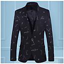 cheap Earrings-Men's Daily Basic Regular Blazer, Solid Colored V Neck Long Sleeve Cotton / Polyester Blue / Black XL / XXL / XXXL