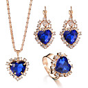 cheap Brooches-Women's Crystal Vintage Style Jewelry Set - Rhinestone Heart Romantic Include Ring Bridal Jewelry Sets Red / Green / Blue For Wedding Party Birthday Engagement Gift Daily / 4pcs