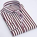 رخيصةأون قمصان رجالي-رجالي عمل الأعمال التجارية / أساسي طباعة قطن قميص, مخطط ياقة مفرودة نحيل / كم طويل / الربيع / الخريف