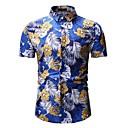 رخيصةأون قمصان رجالي-رجالي شاطئ أساسي طباعة قطن قميص, ورد / ألوان متناوبة / الرسم / كم قصير