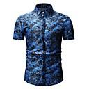 ieftine Machiaj & Îngrijire Unghii-Bărbați Cămașă Plajă Bumbac De Bază - Floral / Bloc Culoare Imprimeu Albastru piscină / Manșon scurt