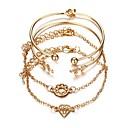 billige Mode Halskæde-4stk Dame Manchetarmbånd Klassisk Heldig Stilfuld Chrome Armbånd Smykker Guld Til Fest Daglig