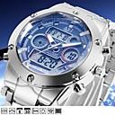 levne Pánské-ASJ Pánské Digitální hodinky japonština Digitální Stříbro 100 m Voděodolné Alarm Kalendář Analogové Módní - Bílá Modrá Jeden rok Životnost baterie