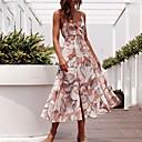 رخيصةأون الأساور الذكية-فستان نسائي A line أساسي طباعة ميدي هندسي