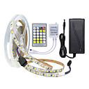 halpa LED-valonauhat-ZDM® 5m Joustavat LED-valonauhat / Valosetit 600 LEDit 2835 SMD 1 24Keys Kauko-ohjain / 1 AC-kaapeli / 1 x 12V 3A-sovitin Dual Light Source Color Leikattava / Uusi malli / Yhdistettävä 12 V 1set