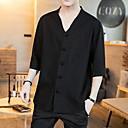 cheap Men's Tees & Tank Tops-Men's Cotton T-shirt - Solid Colored Patchwork V Neck White XXXL