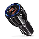رخيصةأون شواحن السيارة-شاحن سيارة سريع qc 3.0 محول 9v / 3.1a المزدوج منفذ USB الضوء الأزرق متوافق مع دائرة الرقابة الداخلية والهاتف الذكي الروبوت