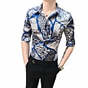 abordables Camisas de Hombre-Hombre Camisa, Cuello Inglés Delgado Geométrico Azul Piscina XL