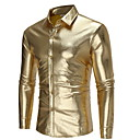 baratos Camisetas & Regatas Masculinas-Homens Camisa Social - Bandagem Sólido Dourado M / Manga Longa