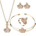 tanie Zestawy biżuterii-Damskie Cyrkonia Klasyczny Biżuteria Ustaw Korona Klasyczny, Europejskie, Elegancja Zawierać Bransoletki cuff Kolczyki sztyfty Naszyjniki z wisiorkami Zestawy biżuterii ślubnej Otwórz pierścień Złoty