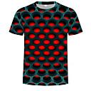 رخيصةأون LG أغطية / كفرات-رجالي أناقة الشارع / مبالغ فيه طباعة تيشرت, ألوان متناوبة / 3D رقبة دائرية / كم قصير
