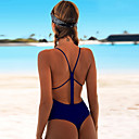 levne Bikinis-Dámské sportovní Základní Rubínově červená Světlá růžová Žlutá Üçgen Odvážné Jednodílné Plavky - Jednobarevné Volná záda Šněrování S M L Rubínově červená