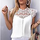 baratos Blusas Femininas-Mulheres Blusa Renda, Sólido Solto Branco XXXL / Primavera / Verão