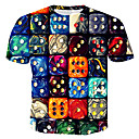 baratos Camisetas & Regatas Masculinas-Homens Camiseta Estampado, 3D / Arco-Íris Algodão Decote Redondo Arco-íris XL