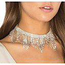 abordables Collares-Mujer Gargantillas Borlas Lujo Nupcial Diamante Sintético Plata 30 cm Gargantillas Joyas 1pc Para Boda Discoteca