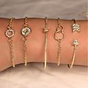 ieftine Becuri LED Glob-5pcs Pentru femei Brățări Bangle Brățări Bantă Cercei / brățară Multistratificat Înnodat Arrow centralizare Simplu Design Unic Clasic Vintage Modă Ștras Bijuterii brățară Auriu / Argintiu Pentru