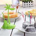 رخيصةأون أطباق-بلاستيك كاجوال شوكة الفاكهة, جودة عالية 6PCS