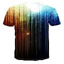 billige T-skjorter og singleter til herrer-Rund hals Store størrelser T-skjorte Herre - Galakse / Regnbue, Trykt mønster Navyblå US40