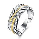 voordelige Strengkettingen-Dames Cut Out Open Ring Verstelbare ring Verzilverd Veer Stijlvol Eenvoudig Modieuze ringen Sieraden Zilver Voor Dagelijks Werk Verstelbaar
