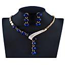 ieftine Cuarț ceasuri-Pentru femei Mov Negru Albastru Seturi de bijuterii de mireasă Link / Lanț Minge Lux Elegant Plin de Culoare Ștras cercei Bijuterii Mov / Rosu / Albastru Pentru Crăciun Nuntă Petrecere Logodnă Cadou