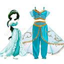 ieftine Costume Sexy-Prințesa Jasmine Rochii Costume Cosplay Pentru copii Fete Halloween Crăciun Halloween Carnaval Festival / Sărbătoare Tul Poliester Albastru Deschis / Verde Costume de Carnaval Prințesă / Vârf