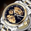 ieftine Ceasuri Damă-Bărbați ceas mecanic Mecanism automat Stil Oficial Stl Oțel inoxidabil Negru / Albastru / Auriu 30 m Gravură scobită Iluminat Analog Lux Modă - Auriu+Argintiu Argintiu+albastru Argintiu / negru