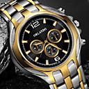 ieftine Ceasuri Bărbați-Bărbați Ceas Elegant Quartz Stil Oficial Stl Oțel inoxidabil Argint / Auriu Ceas Casual Mare Dial Analog Lux Modă - Negru Auriu Un an Durată de Viaţă Baterie