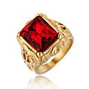 رخيصةأون خواتم-رجالي خاتم الأحجار الكريمة 1PC أحمر أخضر أزرق الصلب التيتانيوم دائري عتيق أساسي موضة مناسب للبس اليومي مجوهرات