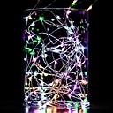 ieftine Benzi Lumină LED-10m lumini șir 100 LED-uri calde alb alb albastru impermeabil decorative sârmă de cupru de argint linie aa baterii powered 1pc