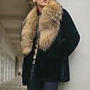 رخيصةأون جواكيت رجالي-رجالي مناسب للبس اليومي خريف & شتاء عادية معطف من الفرو الصناعي, لون سادة طوي كم طويل فرو أسود