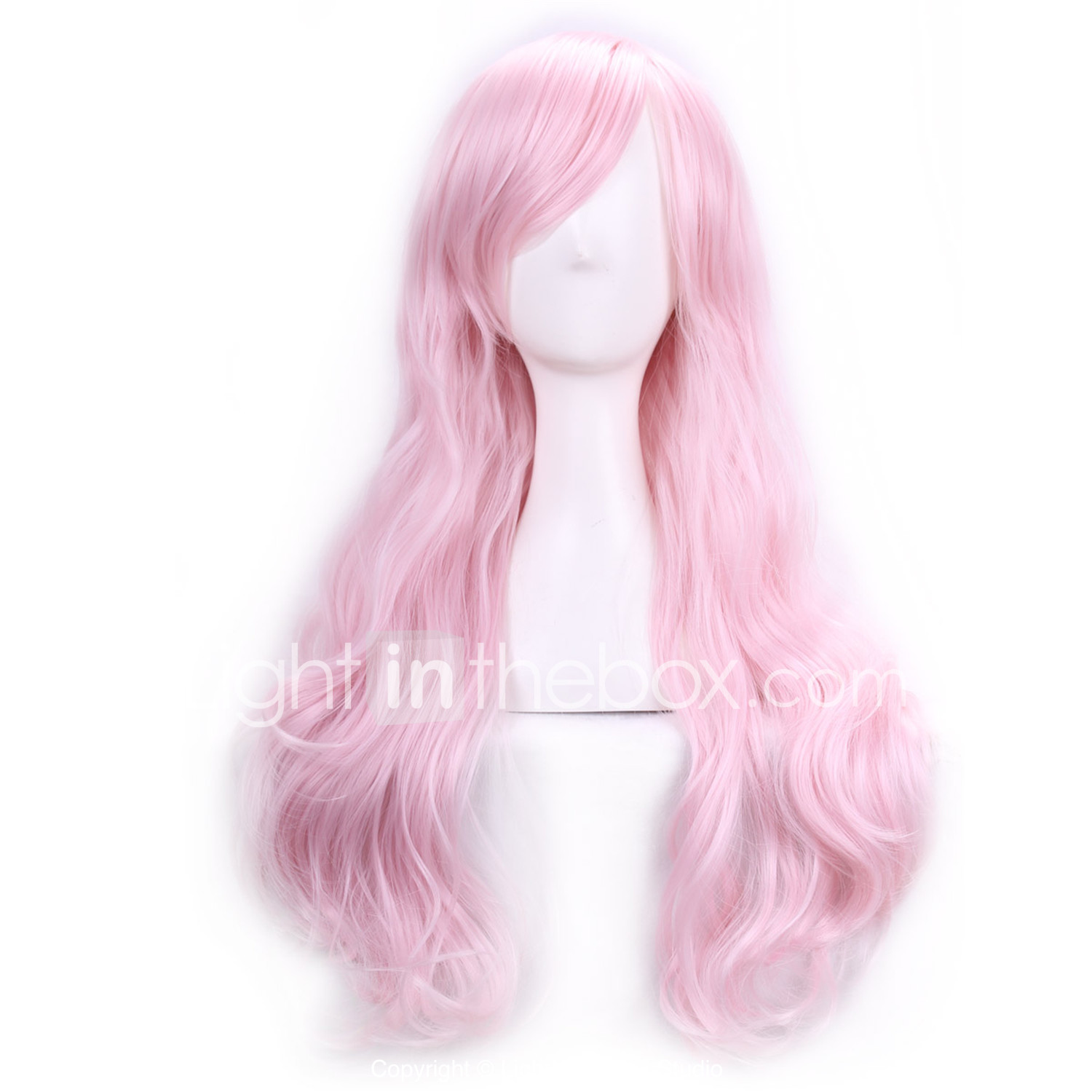 70 cm harajuku anime cosplay wigs for party costume women ladies long full  wavy curly synthetic hair pink wig Halloween  03877720 975b686471