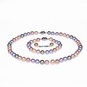 Mujer Perla Conjunto de joyas - Otros Rosa, Gris Claro, Arco iris
