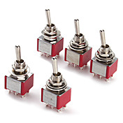 Interruptor de palanca 6p para electrónica diy ac 250v 2a 120v 5a spdt encendido / apagado / encendido (5 piezas por paquete)