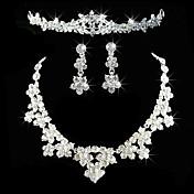 여성용 라인석 결혼식 파티 생일 약혼 합금 귀걸이 목걸이 왕관