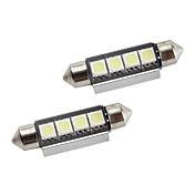 42mm 1.5W 4x5050 80lm smd hvitt lys LED-pære for bil interiør lamper CANbus (2-pack, dc 12v)