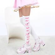 Calcetines y Medias Amaloli Lolita Lolita Blanco Azul Piscina Accesorios de Lolita Medias de Lencería Estampado por Algodón
