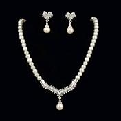 Mujer Cristal Fiesta Cumpleaños Pedida Perla Pendientes Collares