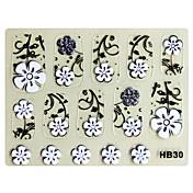 3PCS 3D Nail Art Stickers HB N º 7 de la serie de dibujos animados Negro Transparente