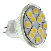 2W 160lm GU4(MR11) LED-spotpærer MR11 12 LED perler SMD 5050 Varm hvit 12V