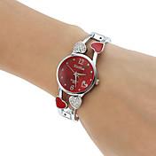 Mujer Reloj de Moda Reloj Pulsera Cuarzo La imitación de diamante Aleación Banda Heart Shape Brazalete Plata Blanco Negro Morado Rojo Rosa
