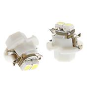 B8.4 0,5 W 2x3528SMD White Light LED pære for bil Instrument Lamp (12V DC, 1-Pair)