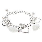 Mujer Pulseras charm - Perla Corazón, Amor Pulseras y Brazaletes Plata Para Regalos de Navidad / Boda