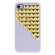 골든 스퀘어 아이폰 4/4S (분류 된 색깔)를위한 접착제로 계단 패턴 하드 케이스 아래로 커버 리벳