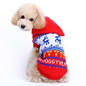 Gato Perro Suéteres Saco y Capucha Ropa para Perro Reno Rojo Tejido de lana Disfraz Para mascotas Hombre Mujer Bonito Navidad