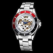 Hombre Reloj de Pulsera El reloj mecánico Cuerda Automática Huecograbado Acero Inoxidable Banda Plata Dorado Blanco