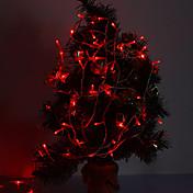 10m 6w 100-ledet 420lm rødlys led strip lys for dekorasjoner med 8 visningsmoduser (220v)