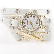 atrevería u mujeres relojes de diamantes de imitación de cristal pulsera de cuero de la vendimia
